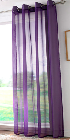 EYELET Ring Top Plain Voile Panel - PURPLE - Sheer Ideas
