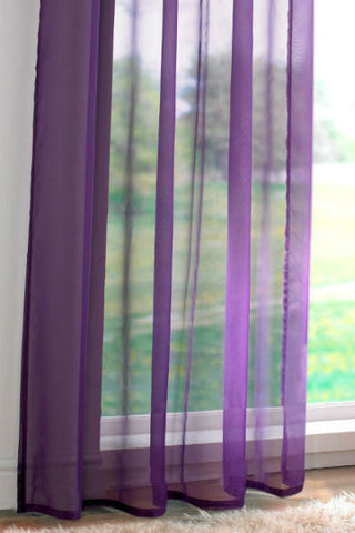 Channel / Rod Pocket Top Voile Panel - Purple - Sheer Ideas