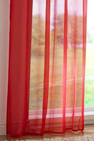 Channel / Rod Pocket Top Voile Panel - Red - Sheer Ideas