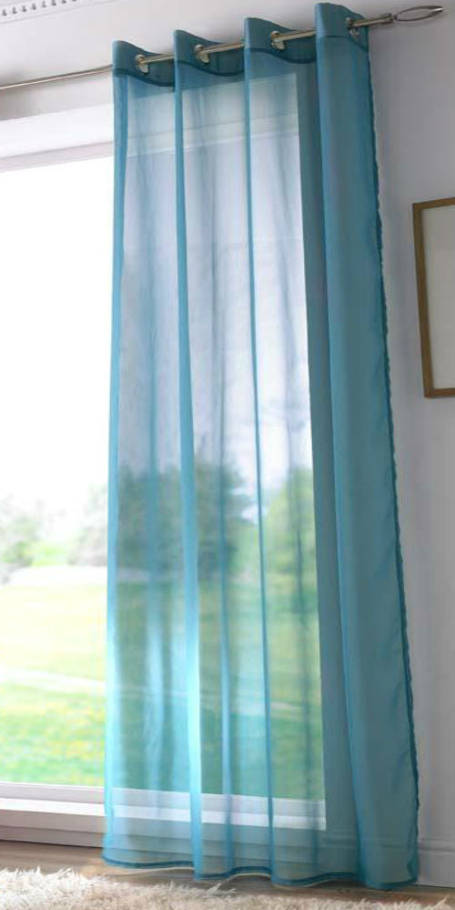 EYELET Ring Top Plain Voile Panel -TEAL - Sheer Ideas