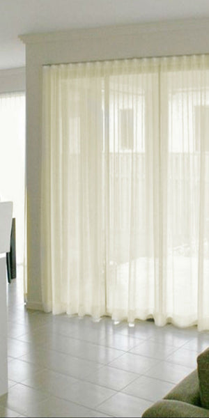 Infinium Sheer Voile Panel with WAVE Heading - Pale CREAM - Sheer Ideas