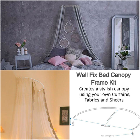 Corona Bed Canopy Frame Coronet Kit - Wall Fix Frame to Create your Own Canopy - Sheer Ideas