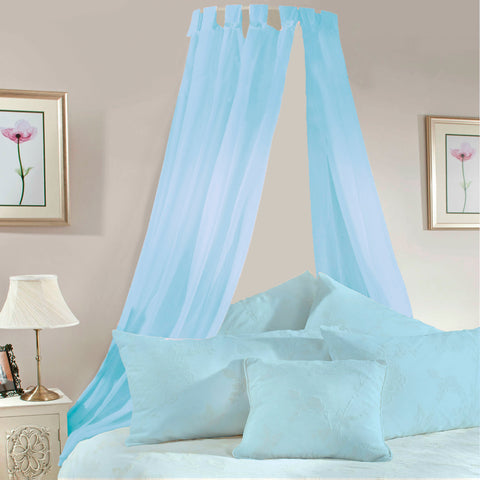 Pale Blue Voile Bed Canopy Complete Set - Sheer Ideas