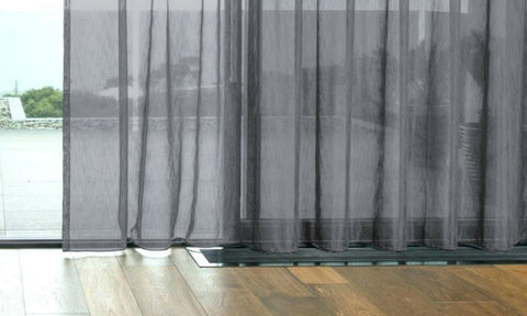 CUSTOM Made FAUX SILK Voile Panel  - Charcoal Grey - Sheer Ideas