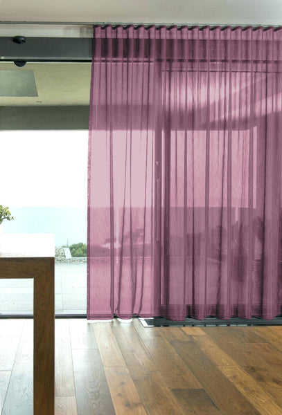 CUSTOM Made FAUX SILK Voile Panel  - Damson - Sheer Ideas