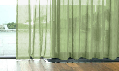 CUSTOM Made FAUX SILK Voile Panel  - Spring Green - Sheer Ideas
