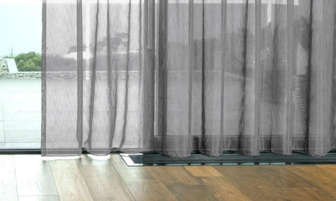 CUSTOM Made FAUX SILK Voile Panel  - Steel Grey - Sheer Ideas