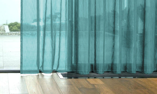 CUSTOM Made FAUX SILK Voile Panel  - Teal - Sheer Ideas