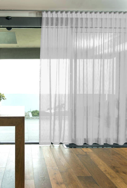 CUSTOM Made FAUX SILK Voile Panel  - Pure White - Sheer Ideas