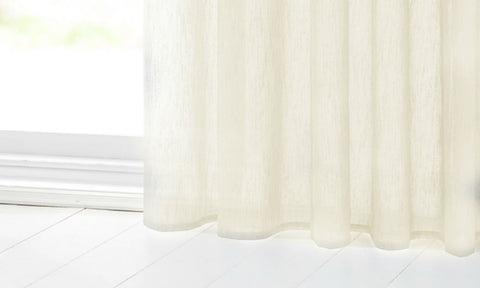CUSTOM Made SLUBBED COTTON LOOK  Panel  - Pale Cream - Sheer Ideas