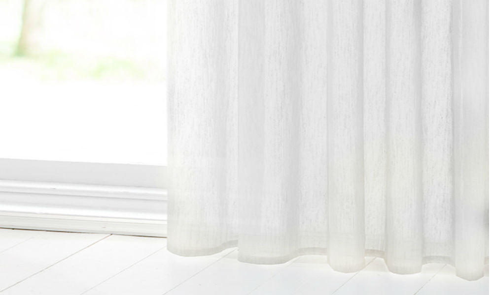 CUSTOM Made SLUBBED COTTON LOOK  Panel  - Pure White - Sheer Ideas