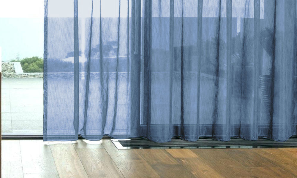 CUSTOM Made FAUX SILK Voile Panel  - Mid Blue - Sheer Ideas