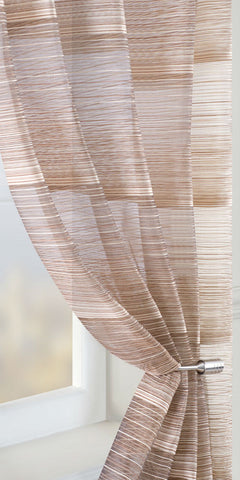 Fine Stripe Voile Panel  - Chocolate - Sheer Ideas