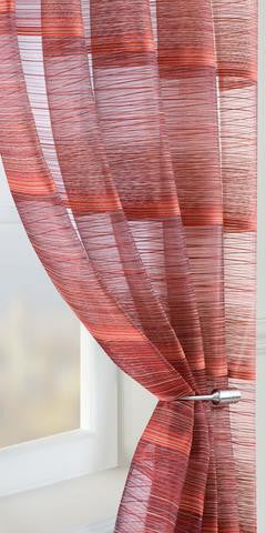 Fine Stripe Voile Panel  - Red - Sheer Ideas