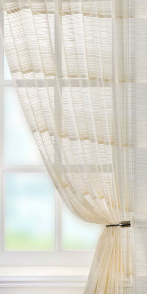 Extra Wide Fine Stripe Voile Panel  - Natural - Sheer Ideas