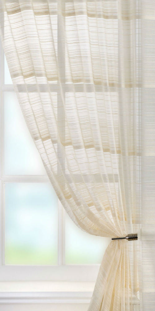 Fine Stripe Voile Panel  - Natural - Sheer Ideas
