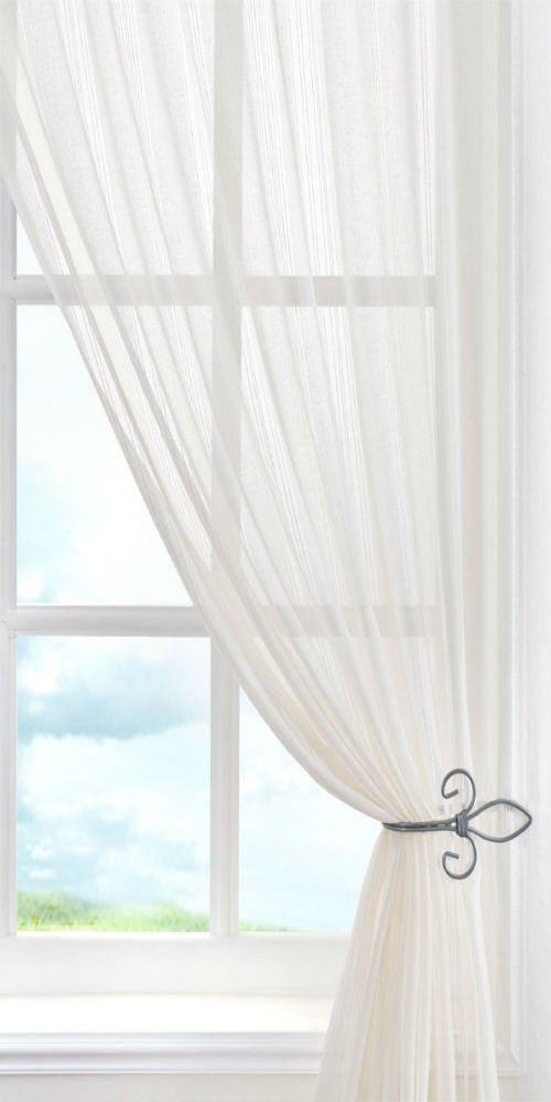 Extra Wide Regency Stripe Voile Panel - Cream ** - Sheer Ideas