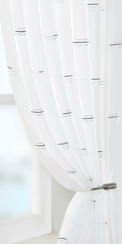 Linear Motif Voile Panel - Black / Silver - Sheer Ideas