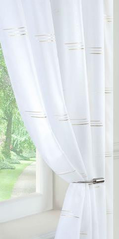 Linear Motif Voile Panel - Cream/Gold - Sheer Ideas