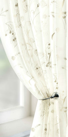 Meadow Flowers Voile Panel - Ivory - Sheer Ideas