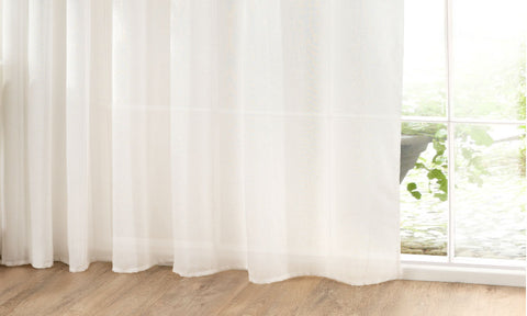 CUSTOM Made LINEN COTTON Mix 38% Natural Fibre Panel  - White - Sheer Ideas
