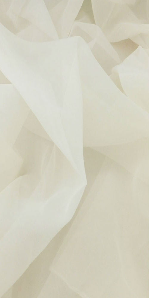 Extra Wide Sheer Plain Voile Fabric 300cm Width - Pale Cream - Sheer Ideas