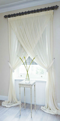 Soft Draping Voile Cross Over Set - Pale Cream - Sheer Ideas