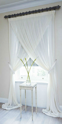 Soft Draping Voile Cross Over Set - Pure White - Sheer Ideas