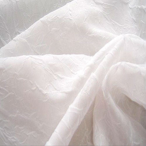 Crushed Voile Fabric  - Pure White - Sheer Ideas