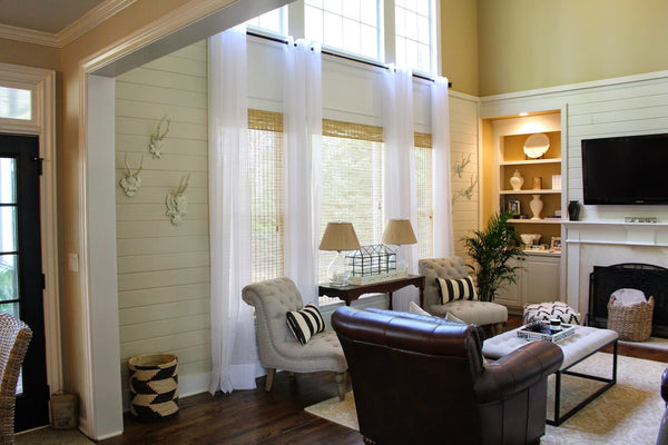 Infinium Linen Look Semi Sheer  Voile Panel with EYELET Heading - Pure WHITE - Sheer Ideas