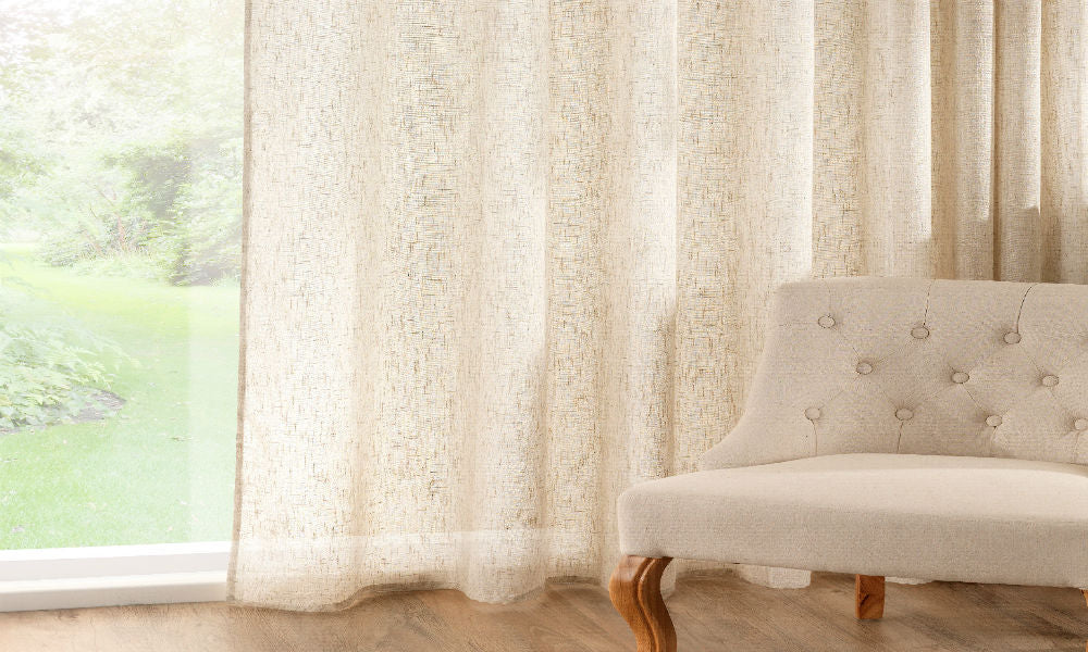 CUSTOM Made LINEN RICH 72% Linen Panel  - Natural - Sheer Ideas