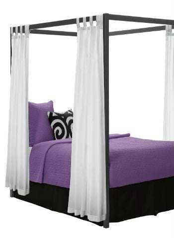 Kids Girls BED CANOPY Curtains FOURPOSTER Drape Set WHITE Sheer Voile- 4 Panel Set - Sheer Ideas