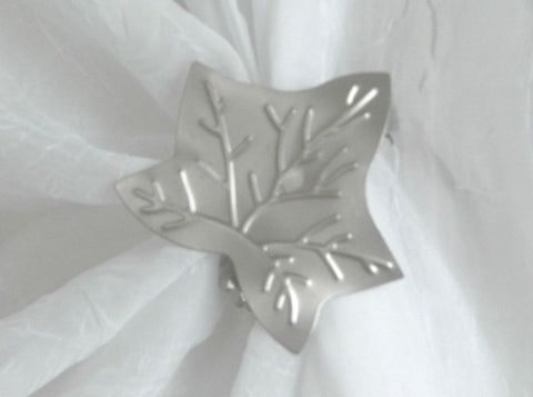 Ivy Leaf Clip - Satin Silver ( pair) - Sheer Ideas