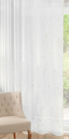Crewell Embroidered Leaf Panel - White - Sheer Ideas
