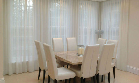 FLAME RETARDANT CUSTOM Made Plain Sheer Voile Panel  - Pure White - Sheer Ideas