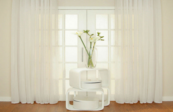 CUSTOM Made MISTED opaque Voile Panel  - Pure White - Sheer Ideas