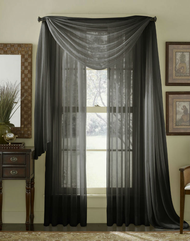 Complete Voile Scarf & Panel Window Set - Black - Sheer Ideas