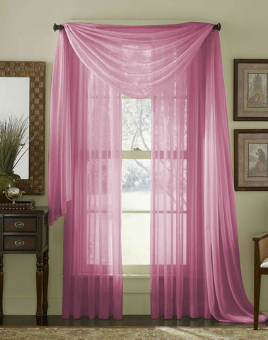 Complete Voile Scarf & Panel Window Set - Cerise - Sheer Ideas