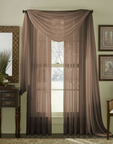 Complete Voile Scarf & Panel Window Set - Chocolate - Sheer Ideas