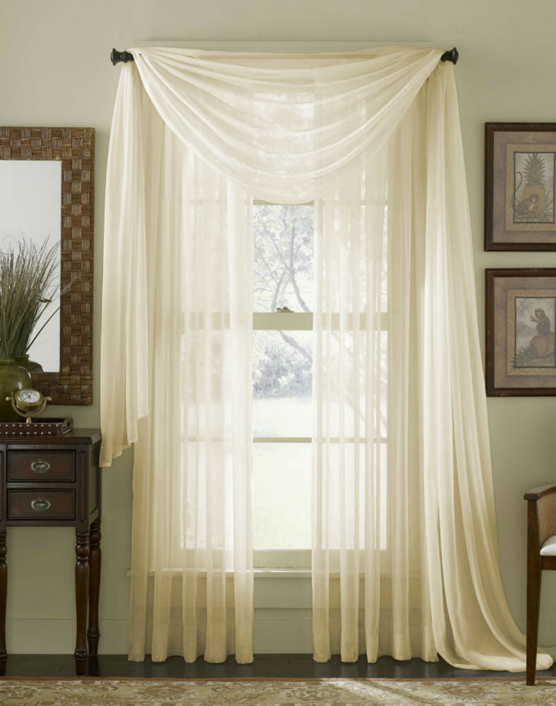 Complete Voile Scarf & Panel Window Set - Cream - Sheer Ideas