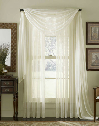 Complete Voile Scarf & Panel Window Set - Ivory - Sheer Ideas