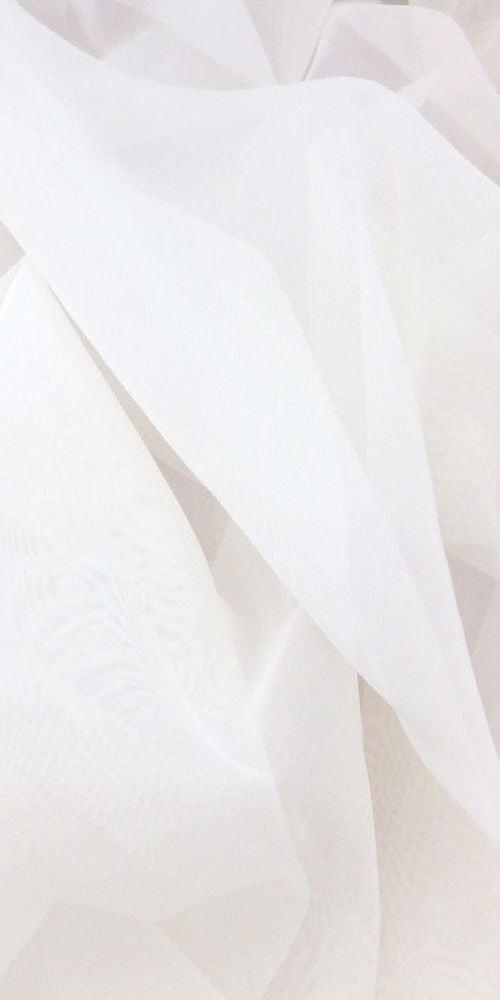 Sheer Plain Voile Fabric 150cm width  - Pure White - Sheer Ideas