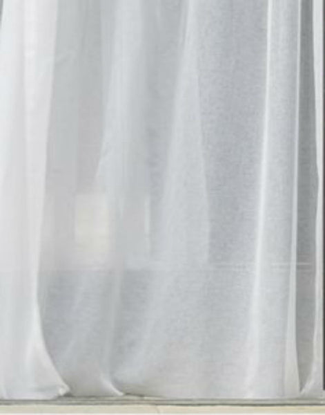 Infinium Sabled Semi -Sheer Voile Panel with WAVE Heading - Pure WHITE - Sheer Ideas