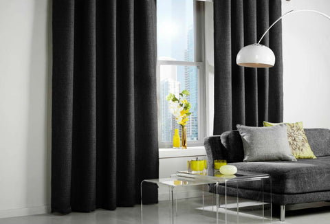 Custom Made LINEN LOOK Curtains - Black - Sheer Ideas