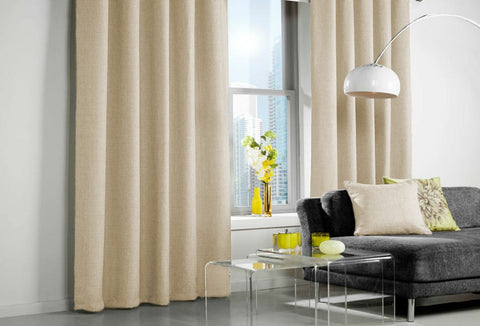 Custom Made LINEN LOOK Curtains - Cream - Sheer Ideas