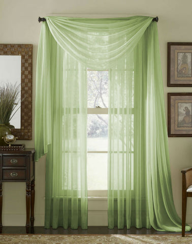 Complete Voile Scarf & Panel Window Set - Lime - Sheer Ideas