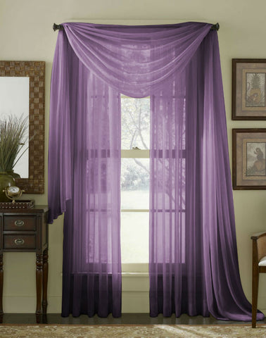 Complete Voile Scarf & Panel Window Set - Purple - Sheer Ideas