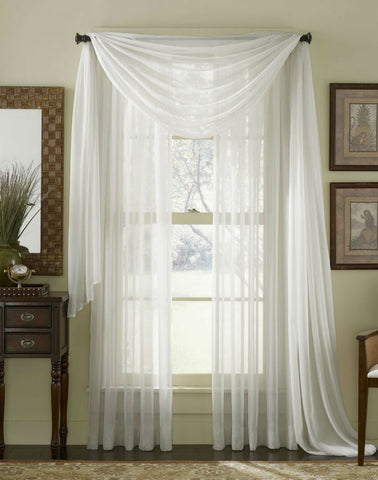 Complete Voile Scarf & Panel Window Set - Pure White - Sheer Ideas