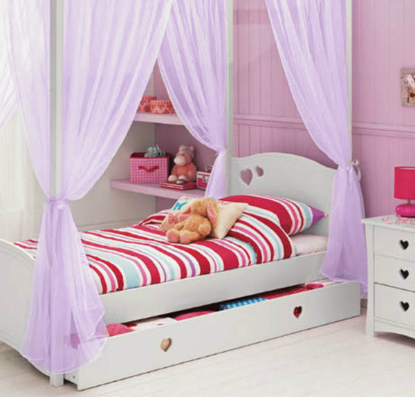 Kids Girls BED CANOPY Curtains FOURPOSTER Drape Set LILAC Sheer Voile- 6 Panel Set - Sheer Ideas