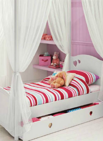 Kids Girls BED CANOPY Curtains FOURPOSTER Drape Set Pure WHITE  Sheer Voile- 6 Panel Set - Sheer Ideas